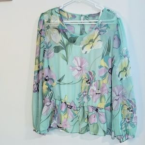 NY Collection Mint Floral Peplum Chiffon Top XL